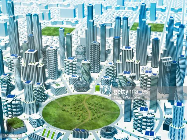 smart city spread around the park high point view - スマートシティ ストックフォトと画像