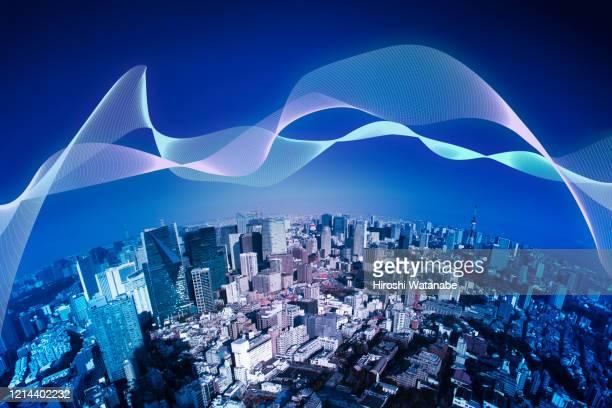 smart city with light trail - スマートシティ ストックフォトと画像