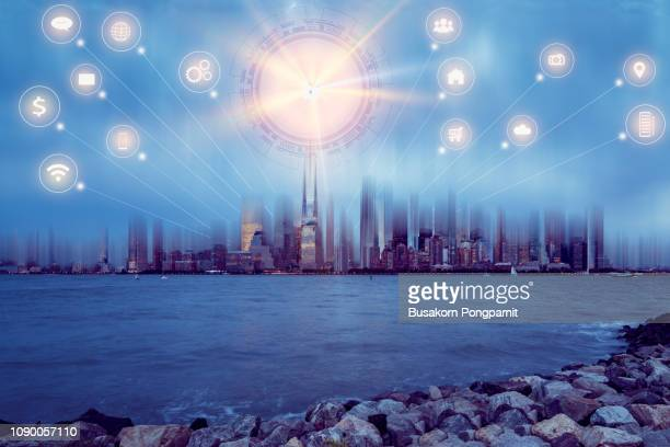 Smart city with wireless network connection concept , abstract communication technology concept