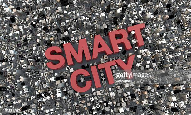 Smart City parola 3d lettere tra i grattacieli vista dall'alto