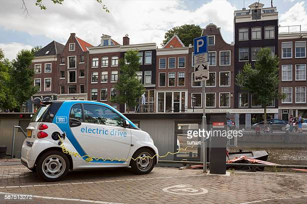 Smart Electric Drive Car Charging in Amsterdam, Netherlands