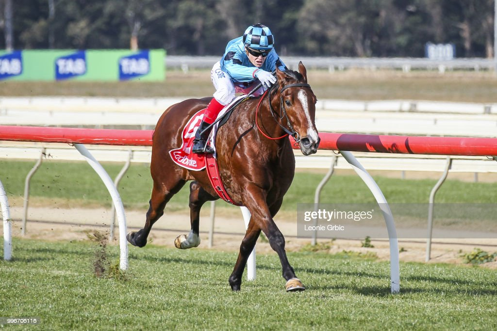 Smart Elissim ridden by Craig Williams wins the Laurels Function Centre Two-Years-Old Maiden Plate at Sale Racecourse on July 12, 2018 in Sale, Australia.