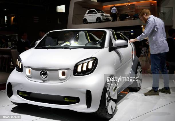 Smart Forease concept car is on display during the second press day of the Paris Motor Show at the Parc des Expositions at the Porte de Versailles on...