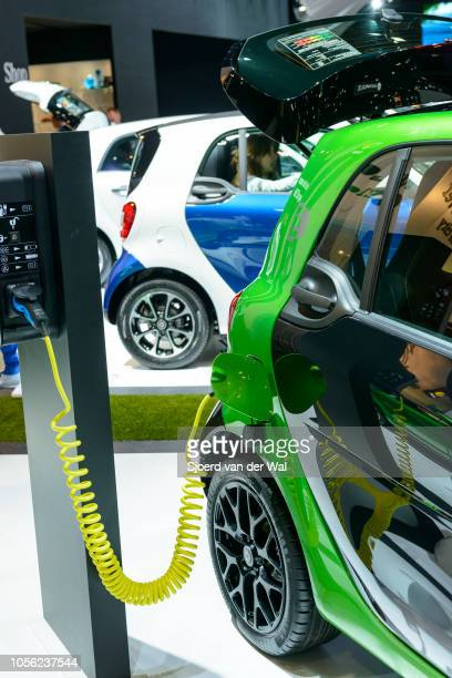 Smart fortwo electric drive compact hatchback city car on display at Brussels Expo on January 13, 2017 in Brussels, Belgium. The electric drive Smart...