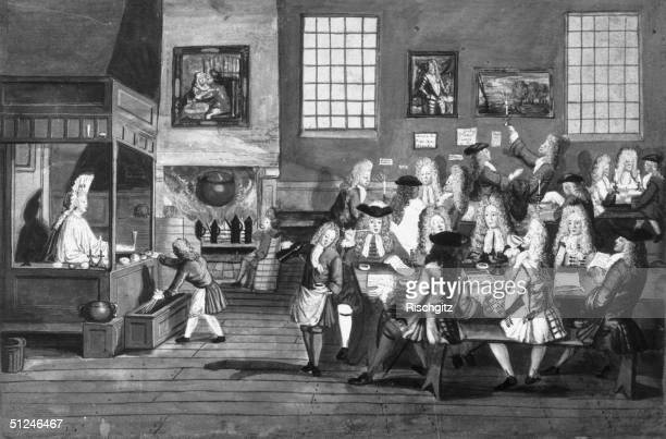 1668 Smart gentlemen drinking smoking and chatting in a coffee house