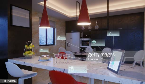 smart home control  in kitchen - smart stock pictures, royalty-free photos & images