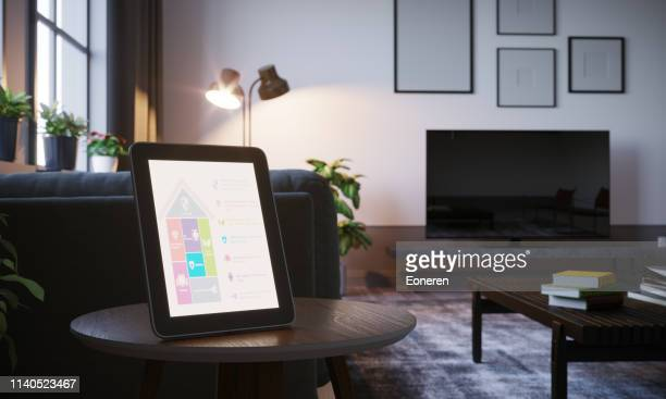 smart home control in scandinavian home interior - internet delle cose foto e immagini stock