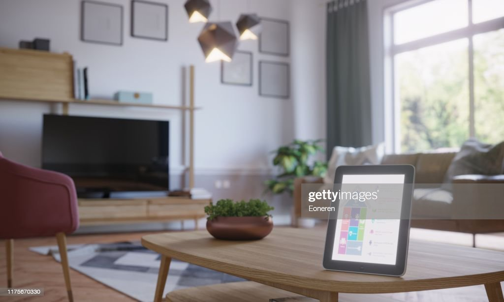 Smart Home Control in Scandinavisch interieur : Stockfoto