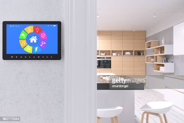 smart home control with modern kitchen - internet delle cose foto e immagini stock