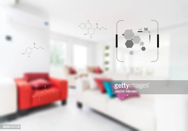 smart home display control panel - home icon stock photos and pictures