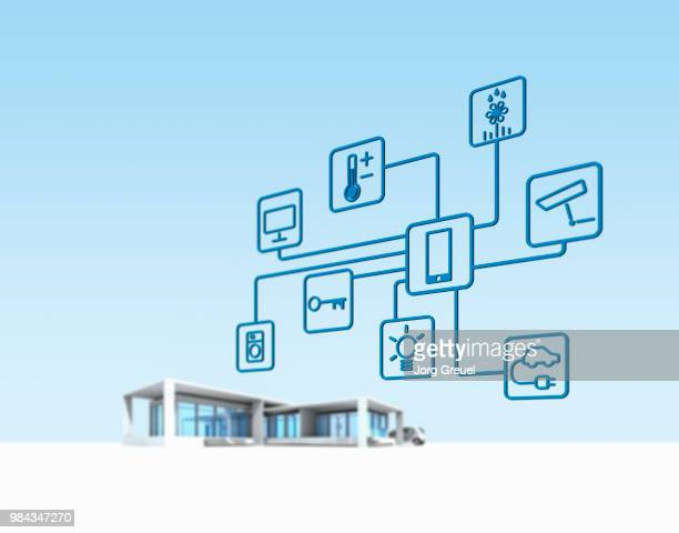 smart home - house icon stock pictures, royalty-free photos & images