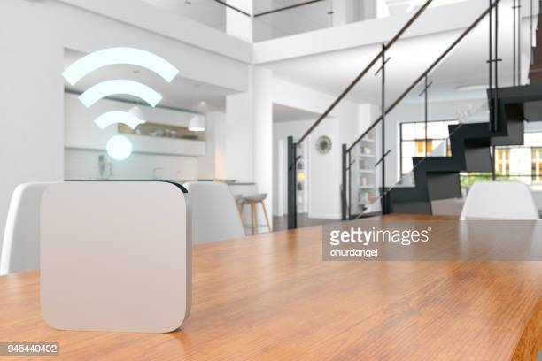 smart home voice assistant - wireless technology foto e immagini stock