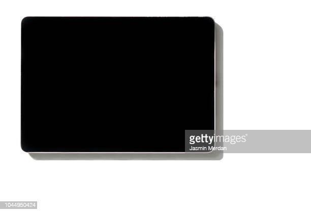 smart house display on wall in living room - digital viewfinder stockfoto's en -beelden