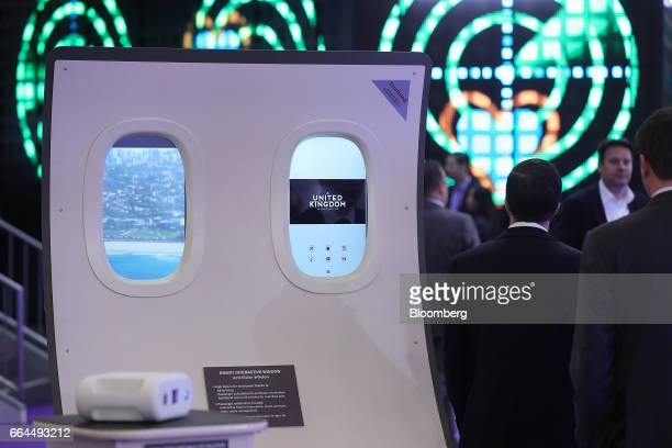 Smart interactive window technology manufactured by Acti-Vision sits on display at the Aircraft Interiors Expo in Hamburg, Germany, on Tuesday, April...