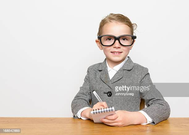 smart little businesswoman - journalist stock pictures, royalty-free photos & images