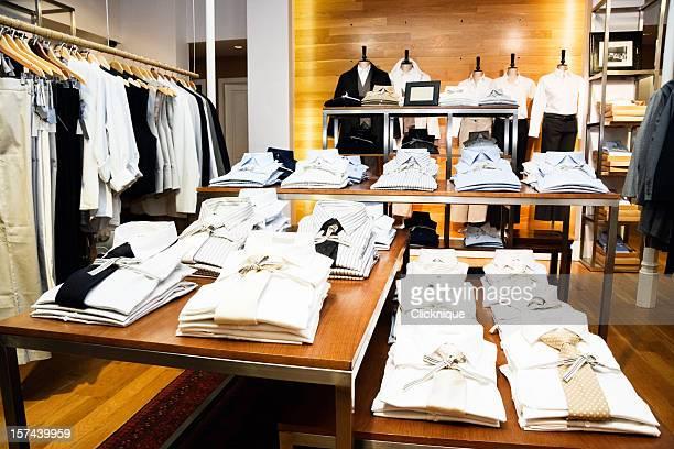 Smart men's shirt, folded in menswear store