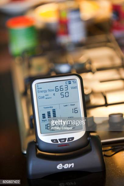 A smart meter for showing how much electricity your house is using.