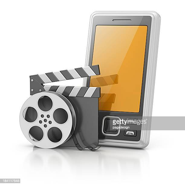 smart phone and film stuff - hollywood squares stock pictures, royalty-free photos & images