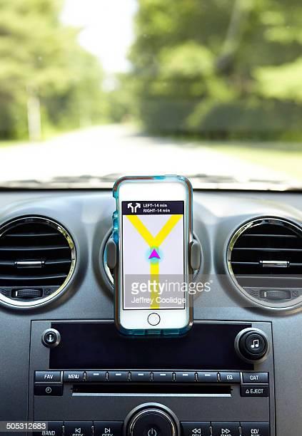 Smart Phone in Car Fork in Road