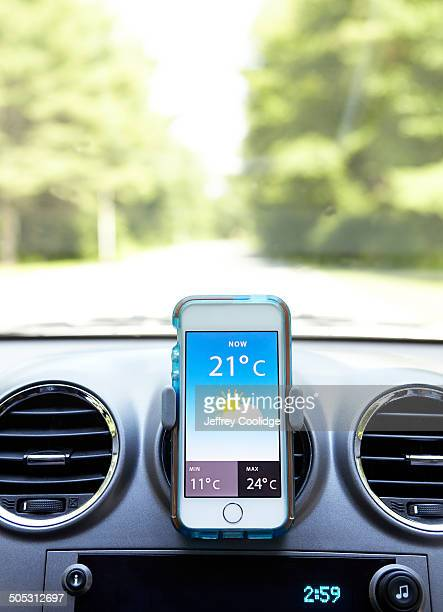 Smart Phone in Car with Weather App