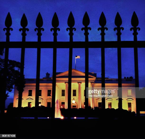 Smart phone photo was taken at dusk of the White House As President Trump celebrates his first year in office the selfproclaimed deal maker was...