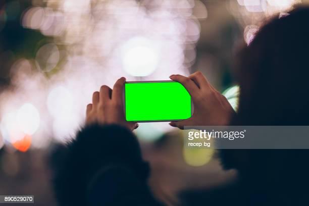 Smartphone-Bildschirm In grün beim Fotografieren