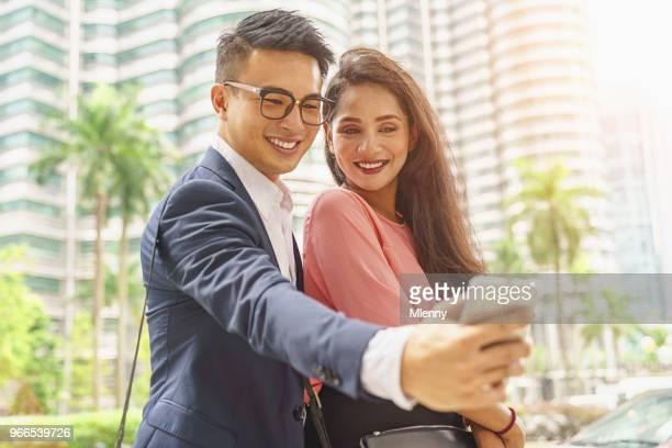 Smart Phone Selfies Business Couple Kuala Lumpur Malaysia