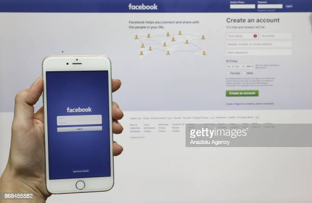 A smart phone showing facebook application is seen in Ankara Turkey on October 24 2017