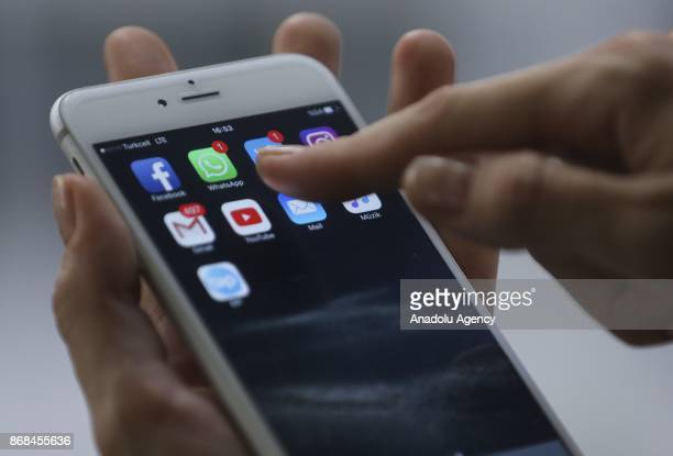 A smart phone showing icons of various applications is seen in Ankara Turkey on October 24 2017