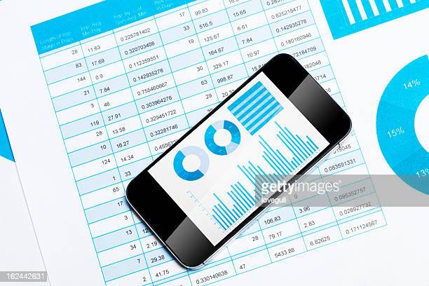 smart phone with finance chart