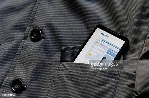 スマートフォンで Paypal.com サイトのポケット