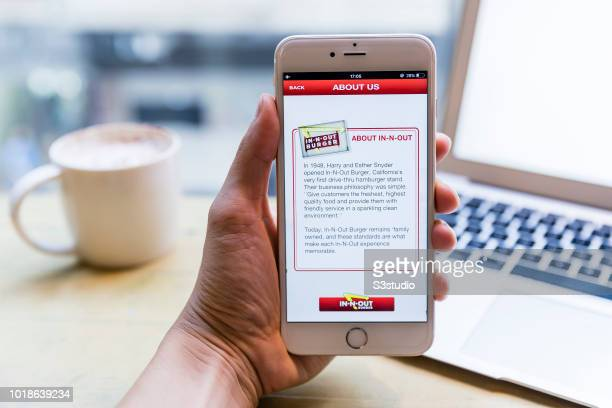 A smart phone with the fast food app InNOut Burger is seen on the screen in Hong Kong Hong Kong on July 31 2018