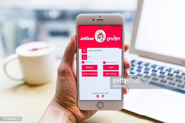 A smart phone with the fast food app Jollibee is seen on the screen in Hong Kong Hong Kong on July 31 2018