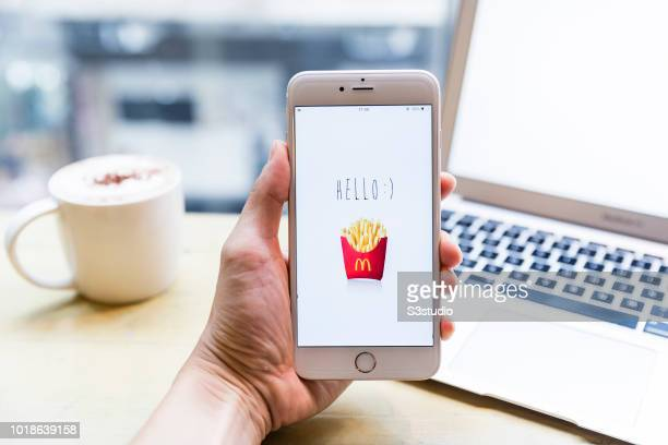 A smart phone with the fast food app McDonald's is seen on the screen in Hong Kong Hong Kong on July 31 2018