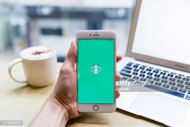 A smart phone with the fast food app Starbucks is seen on the screen in Hong Kong Hong Kong on July 31 2018