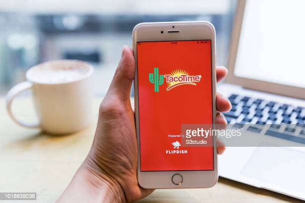 A smart phone with the fast food app TacoTime is seen on the screen in Hong Kong Hong Kong on July 31 2018