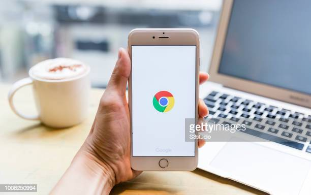 A smart phone with the Google Chrome app is seen on the screen in Hong Kong Hong Kong on July 31 2018
