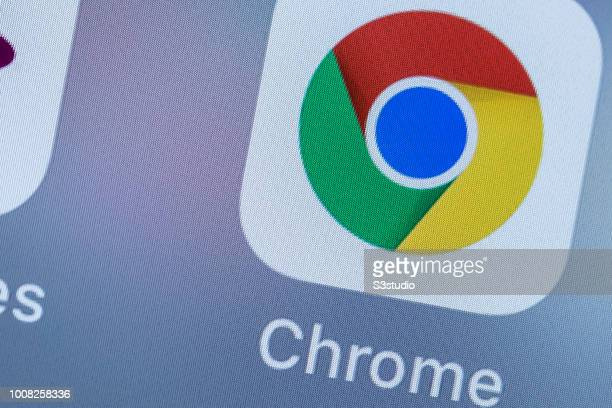 A smart phone with the icons for Google Chrome app is seen on the screen in Hong Kong Hong Kong on July 31 2018