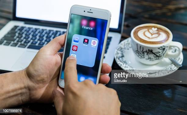 A smart phone with the icons for the finance banking apps from Citibank DBS Bank of China Hong Kong and other are seen on the screen in Hong Kong...