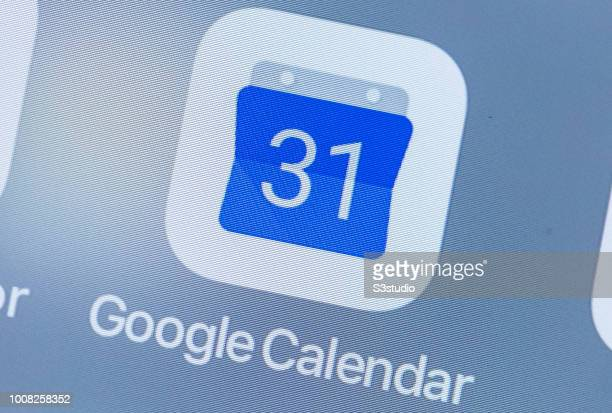 A smart phone with the icons for the Google Calendar app is seen on the screen in Hong Kong Hong Kong on July 31 2018