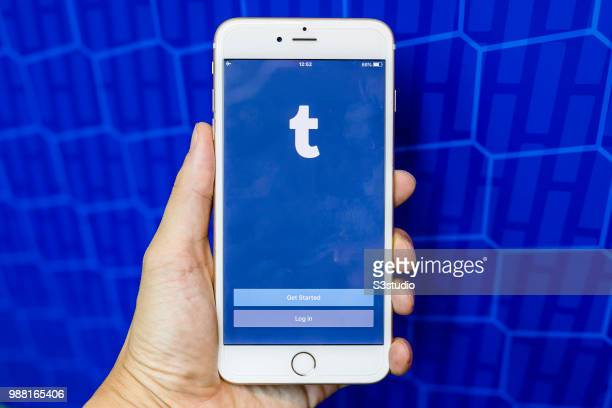 A smart phone with the login screen for the social networking apps Tumblr is seen on the screen on June 29 2018 in Hong Kong Hong Kong
