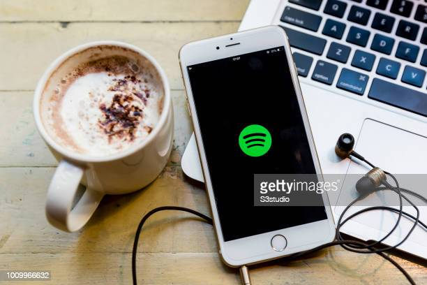 A smart phone with the music app Spotify is seen on the screen in Hong Kong Hong Kong on July 30 2018