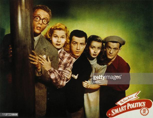 Smart Politics, lobbycard, from left, Warren Mills, June Preisser, Freddie Stewart, Noel Neill, Frankie Darro, 1948.