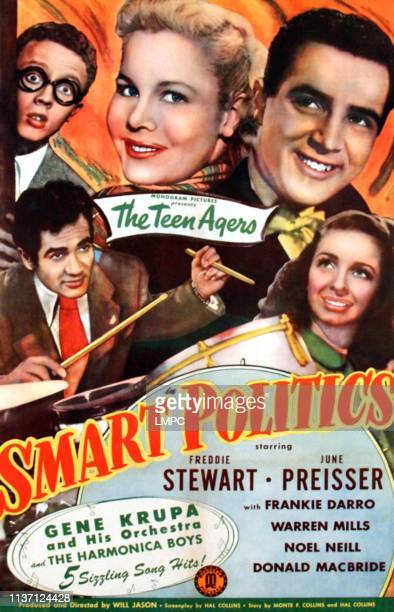 Smart Politics, poster, top l-r: Warren Mills, June Preisser, Freddie Stewart, bottom l-r: Gene Krupa, Noel Neill on poster art, 1948.