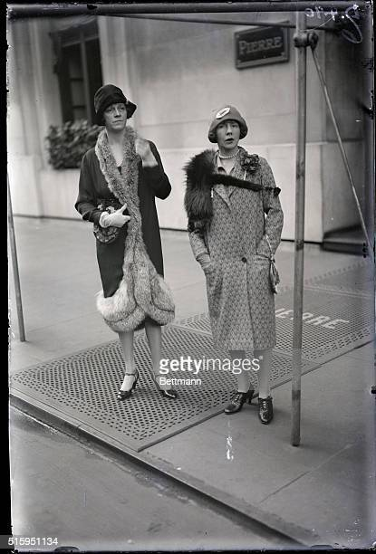 Smart set in front of Hotel Pierre Mrs Robert Goddard and Mrs Roland Hazzard Photograph ca 1920