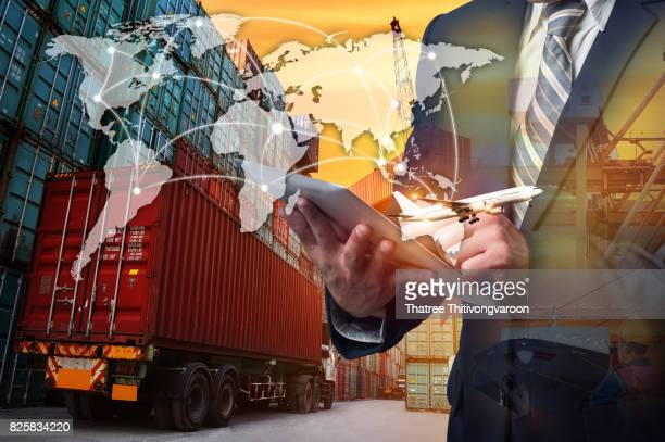 Smart technology concept with global logistics partnership and transportation of Container Cargo ship and Cargo plane