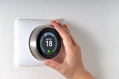Smart Thermostat with a hand saving energy