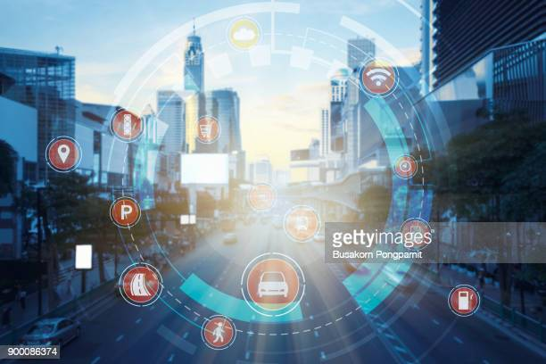 Smart transportation technology smart city concept, Internet of things