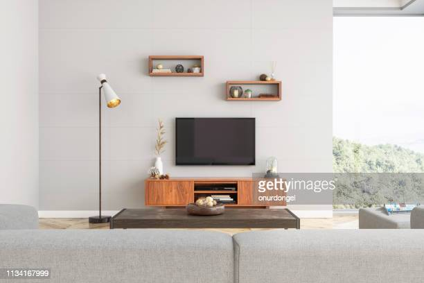 smart tv mockup with blank screen in modern living room - equipment stock pictures, royalty-free photos & images