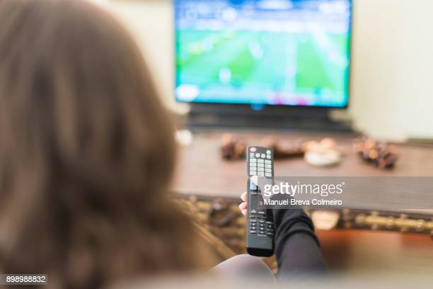smart tv - changing channels stock photos and pictures